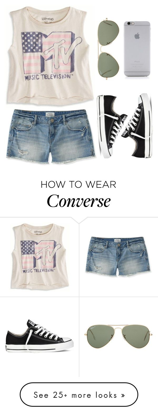 """""""Summer Casual"""" by twaayy on Polyvore featuring American Eagle Outfitters, Aéropostale, Converse, Ray-Ban and Native Union"""