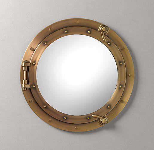 255 Porthole Mirror - Aged Brass