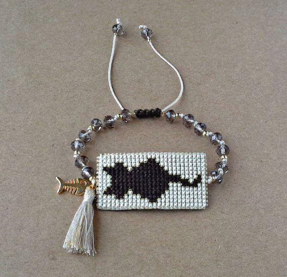 Handmade Cat Cross Stitch Bracelet Brown Cat by dngcreations