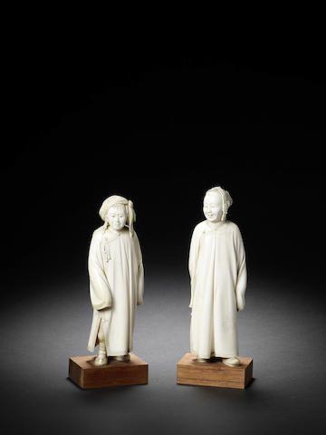 A pair of ivory figures of Manchurians By Yoshida Sosai (1865-1944), Meiji/Taisho Period.