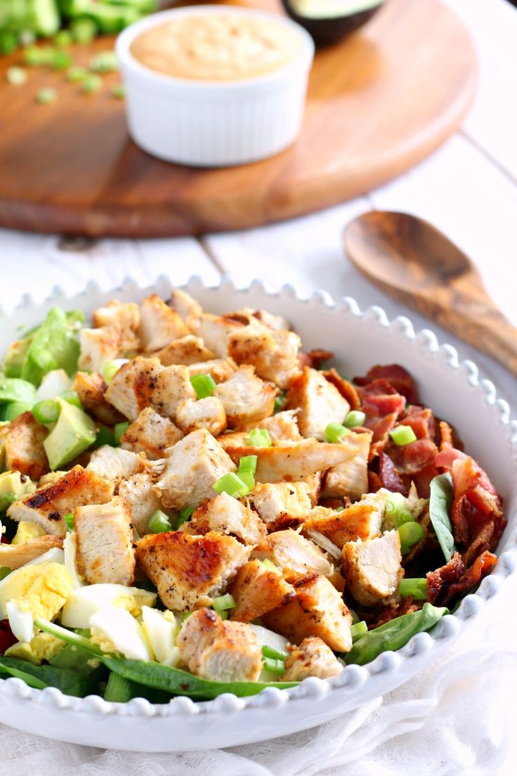 Paleo Chicken Cobb Salad with Buffalo ranch dressing - whole30 friendly and so amazing! The dressing can be make 2 ways, both equally delicious