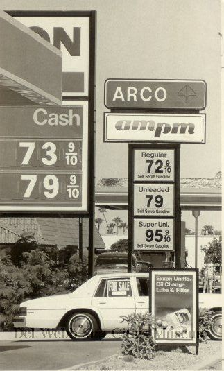 Photograph from 1986.  Gas was so cheap!  That is nuts!! (Del Webb Sun Cities Museum)