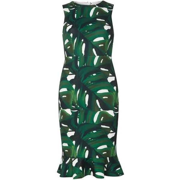 Dorothy Perkins Petite Green Leaf Fitted Bodycon Dress ($69) ❤ liked on Polyvore featuring dresses, green, petite, petite peplum dress, petite dresses, fitted cocktail dresses, green dress and green body con dress