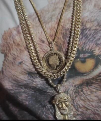 Diamond encrusted cuban link chain, jesus piece pendant and chain...