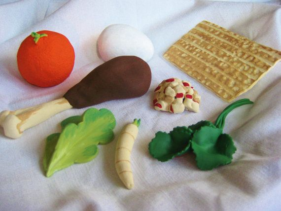 Ceramic Seder Plate Foods for Passover by rachelvanderpol on Etsy, $76.00