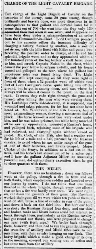 British Newspaper Archive Blog 'Charge of the Light Cavalry Brigade' - the Battle of Balaclava, 25 October 1854 britishnewspaperarchive.co.uk