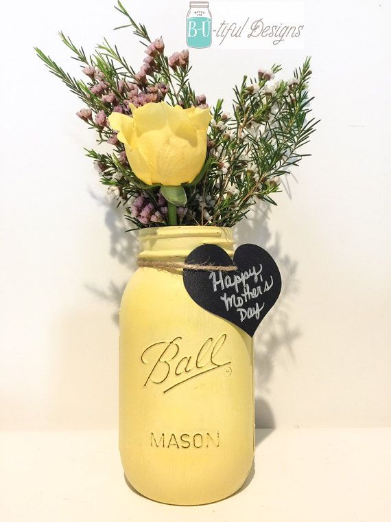 Mason Jar Flower Vase. Mothers Day Gift. Color of your choice.