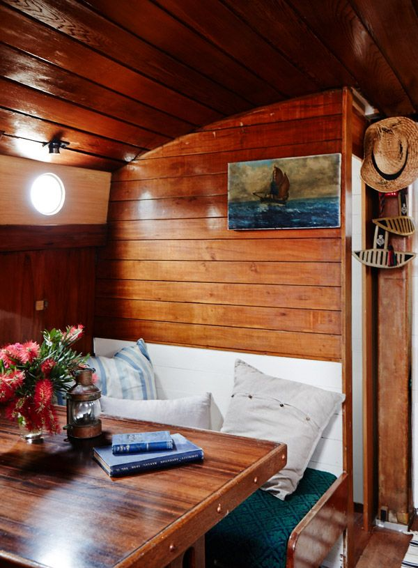 A cozy nook on a sailboat. #NauticalJuly