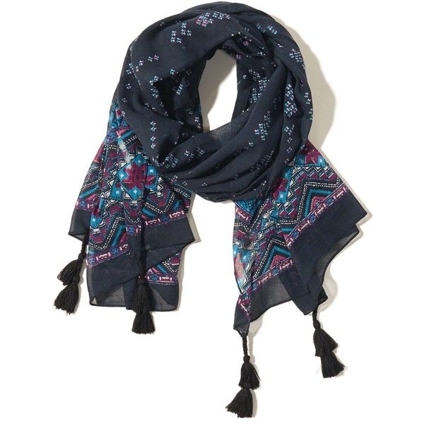Hollister Edged Print Scarf ($9.97) ❤ liked on Polyvore featuring accessories, scarves, navy pattern, navy blue shawl, navy scarves, print scarves, wrap shawl and navy blue scarves