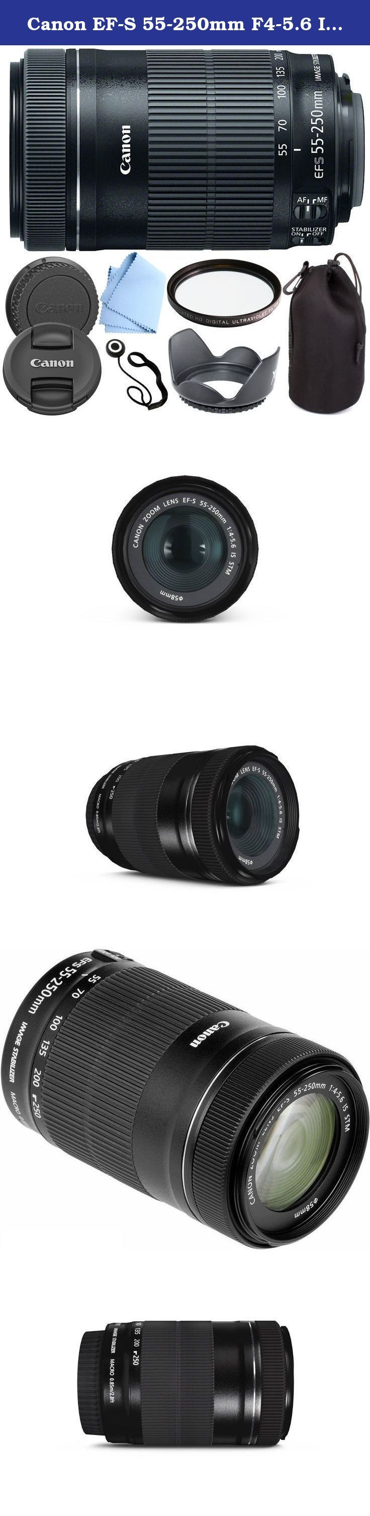 Canon EF-S 55-250mm F4-5.6 IS STM - International Version (No Warranty) Zoom Lens for for Canon EOS 7D, 60D, EOS Rebel SL1, T1i, T2i, T3, T3i, T4i, T5i, XS, XSi, XT, XTi Digital SLR Cameras + Shop Smart Deals Deluxe Kit 55-250mm STM. The Canon EF-S 55-250mm f/4-5.6 IS STM Lens from Canon is a long-reaching zoom lens that provides a 35mm-equivalent focal length range of 88-400mm, covering portrait-length to telephoto perspectives to suit working with distant subject matter. Greatly...