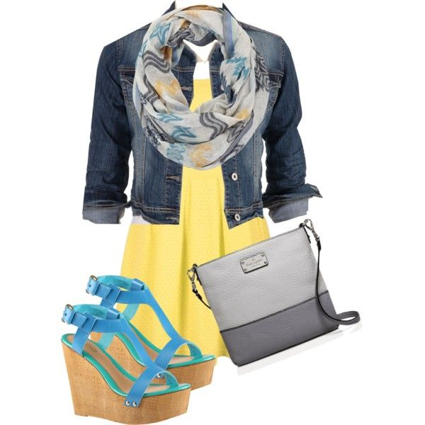 Yellow summery dress with jean jacket and blue and grey accents -trongaus on Polyvore