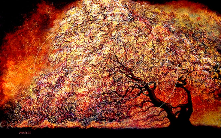 """""""The Marriage Tree ll"""" - by Maxee -   48"""" x 30""""-  Textured Acrylic on canvas - www.ArtByMaxee.com"""