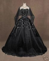 Gothic Prom Dresses | bidding on an extremely GOTHIC BLACK wedding gown/ball gown/prom dress ...
