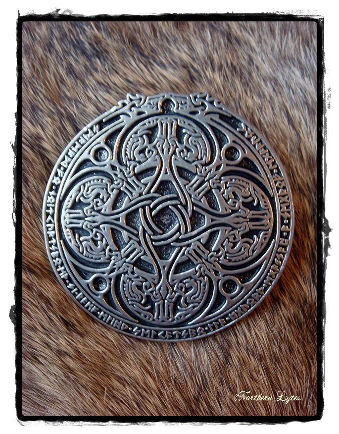 Norse Dragon Runic Cloak Pin  Viking  Runes by northernlytes, $35.00