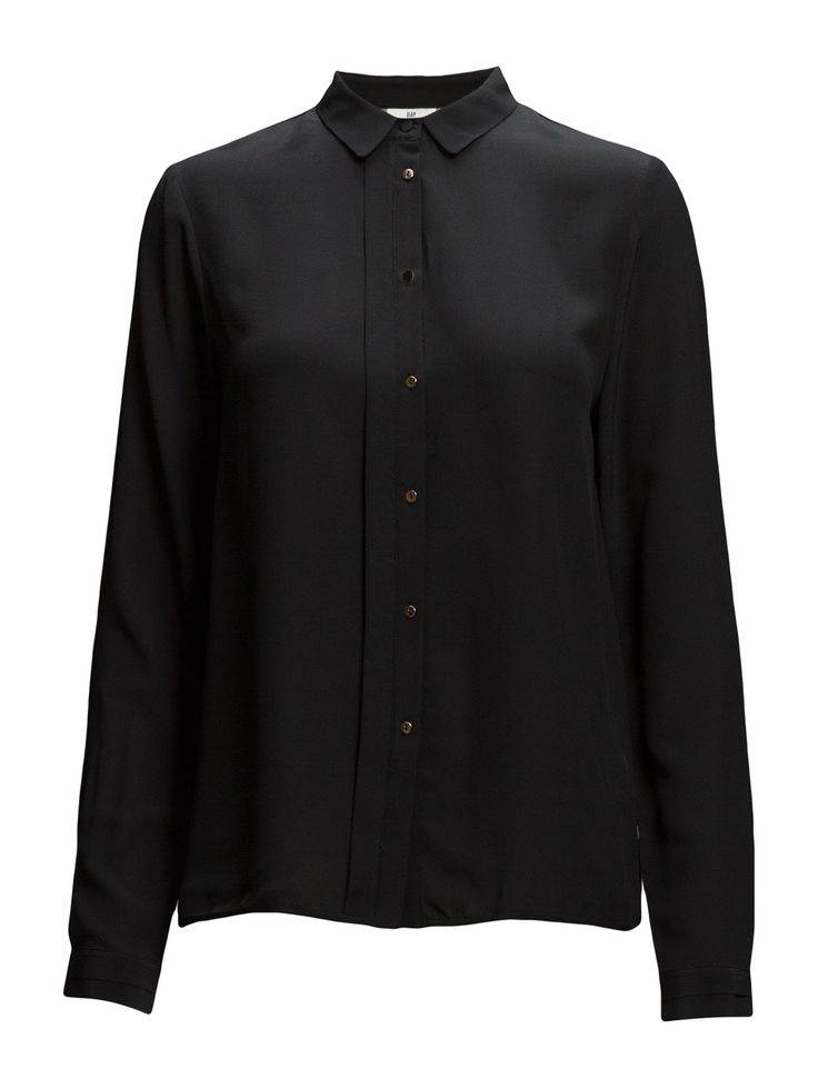 DAY - Day Fan-Front button placket black shirt Pleat details Button cuffs Small point collar Silk is a naturally lightweight fiber that creates a lustrous finish. Elegant and feminine Sophisticated Timeless