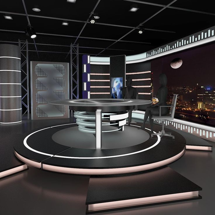 3d model virtual news set 006
