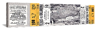 Great vintage Texas football gifts! Made from authentic vintage Texas football tickets like this 1964 TX-OU football ticket on canvas. The best Texas football gifts are at http://www.shop.47straightposters.com/1964-OU-vs-Texas-Football-Ticket-Art-64OU-TX.htm