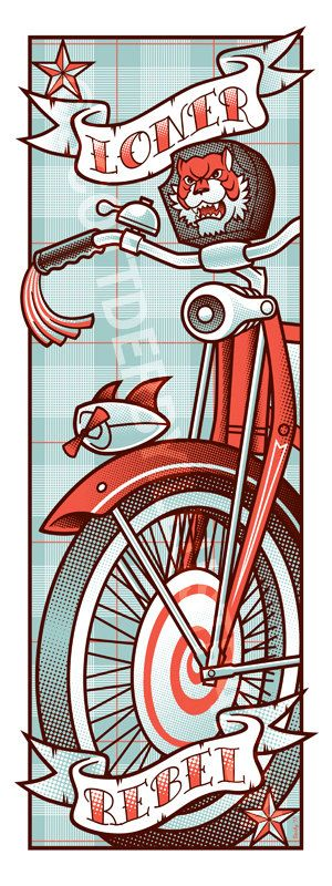 A Loner, A Rebel (Pee Wee Herman) 3 color screen print. $40.00, via Etsy.