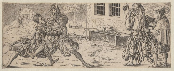 1450-1600 Brun, Franz (engraver c. 1559—1596) Austrian soldiers fighting. One of a collection of illustrations of Austrian soldiers. Two soldiers fighting in street. Two men talking at right while dog sleeps on bench outside building. Copyright - Anne S.K. Brown Military Collection at Brown University.   [The pluderhose date this as late 1500s. And I'd say those are blunted training daggers.]
