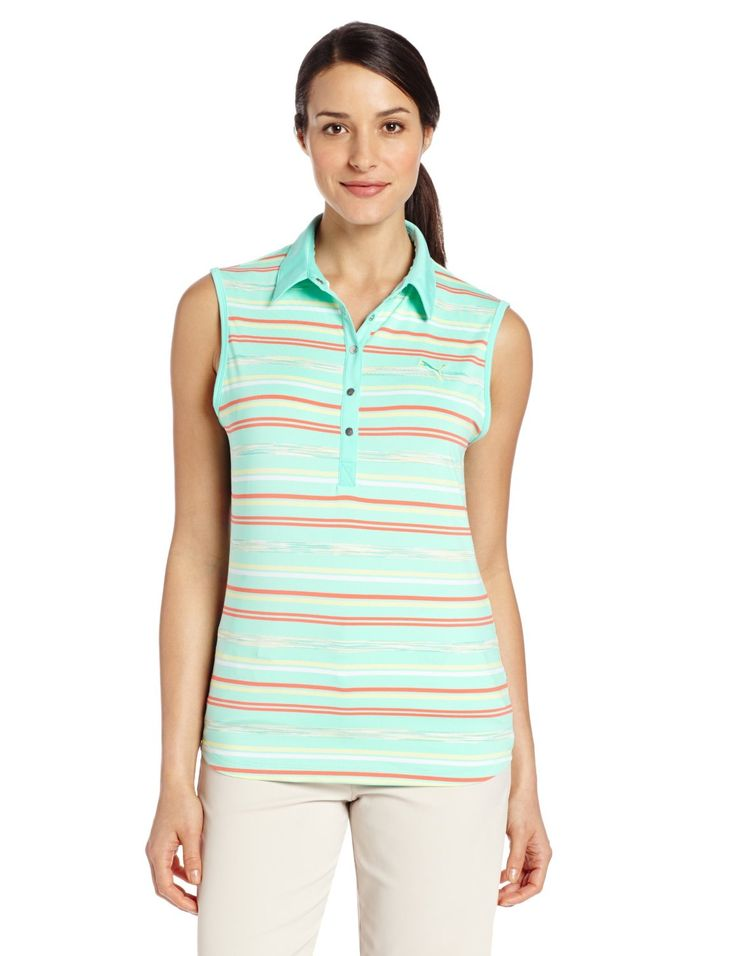 Offering a feminie look this womens NA sleeveless space stripe golf polo shirt by Puma features adjustable side tabs for greater length options