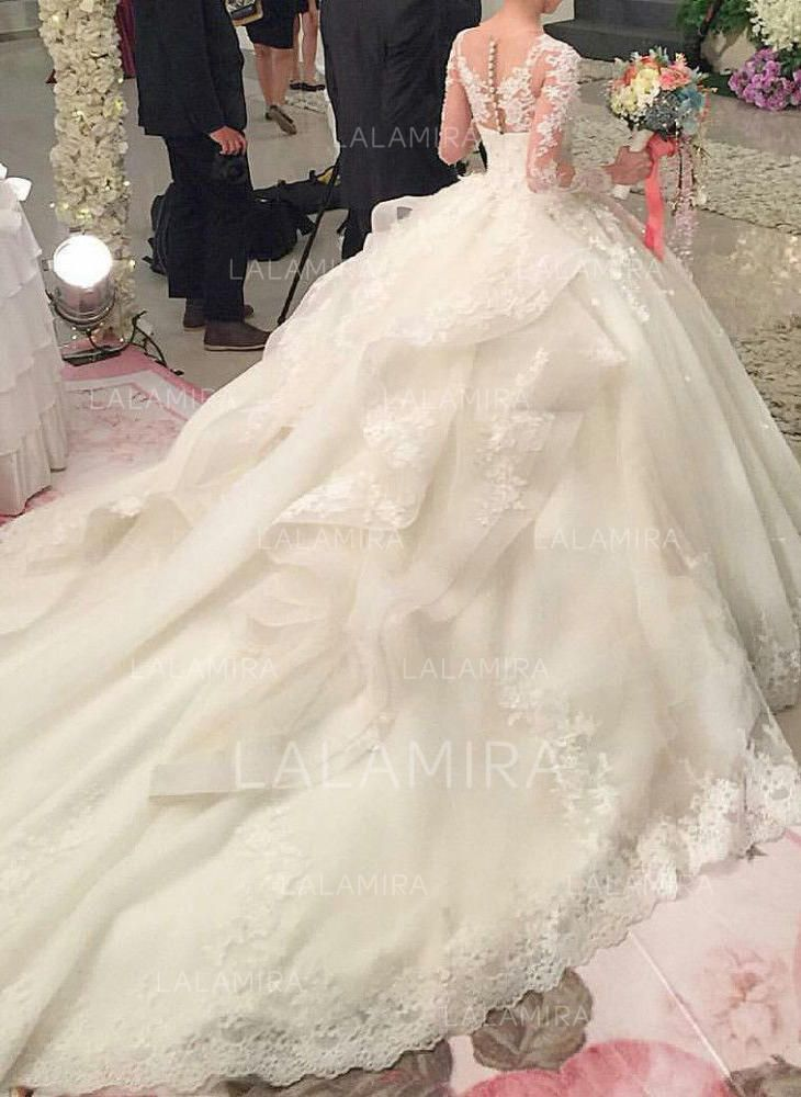 ecb2a501a1 Ball-Gown Organza Long Sleeves Scoop Royal Train Wedding Dresses  147855 -  lalamira