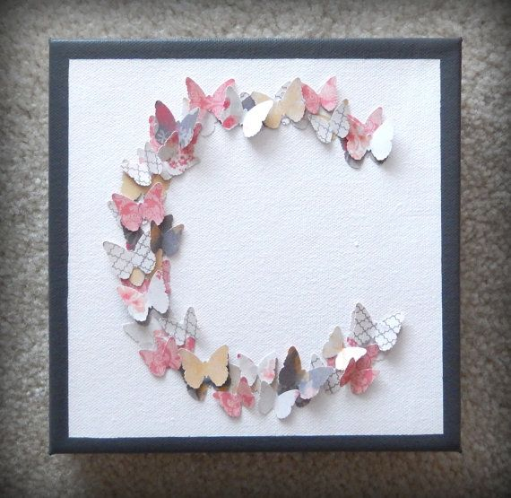 Monogram C Butterflies  3D Canvas Wall Art by TwoCraftyBirdies, $25.00