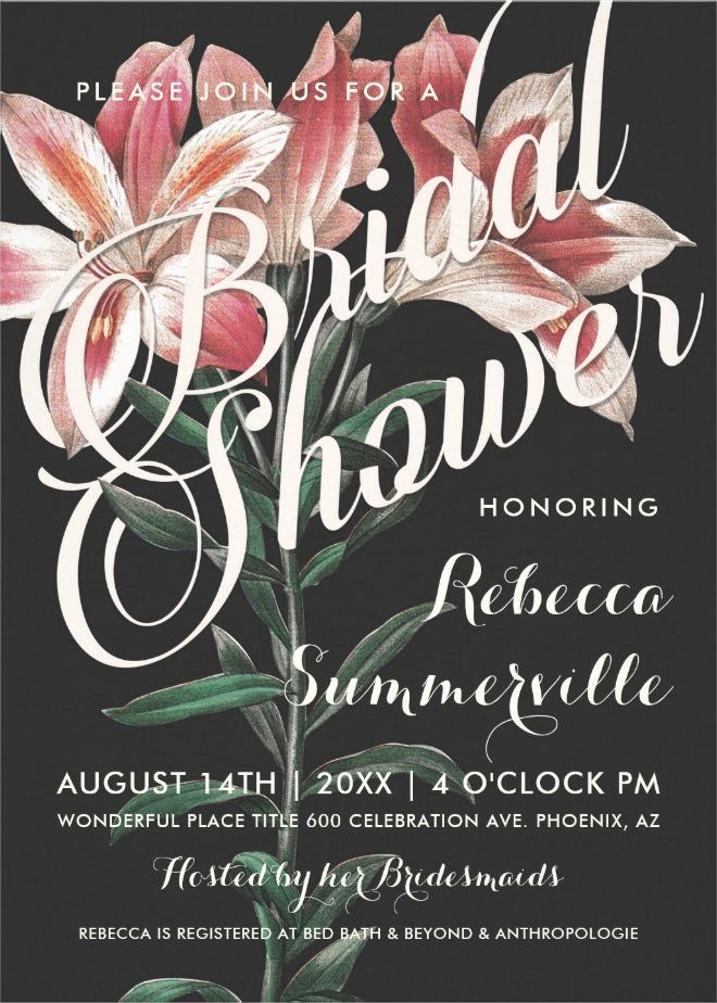 recipe themed bridal shower invitation wording%0A Lovely Lily Botanical Bridal Shower Invitations  floral  boho  bridalshower   bridalbouquet
