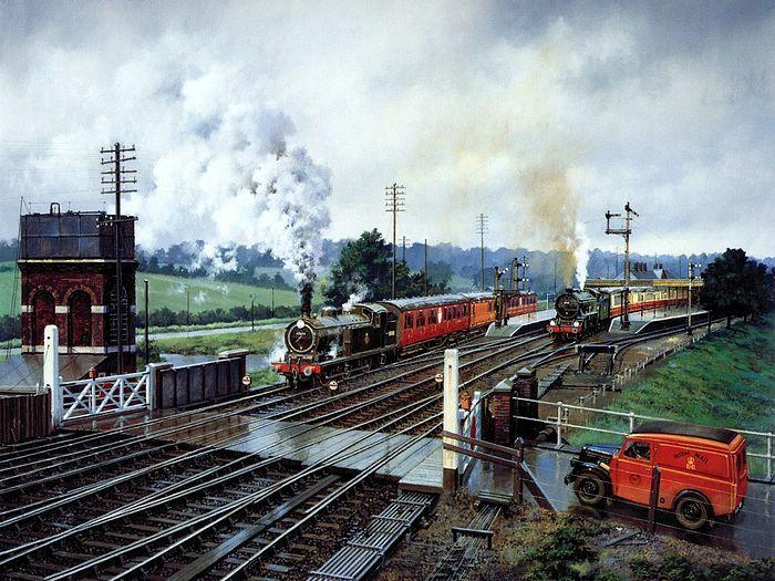 painting old beautiful train - photo #14
