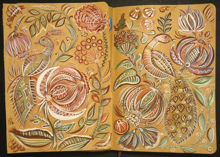 Мои рисунки в тетради с крафтовой бумагой, карандаши и темперные краски, по мотивам городецкой росписи