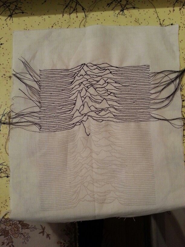 Unknown Pleasures Joy Division - freehand machine embroidery. Work in progress