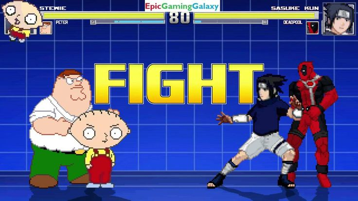 Stewie Griffin And Peter Griffin VS Sasuke Uchiha And Deadpool In A MUGEN Match / Battle / Fight This video showcases Gameplay of Stewie Griffin And Peter Griffin From The Family Guy Series VS Sasuke Uchiha From The Naruto Series And Deadpool In A MUGEN Match / Battle / Fight