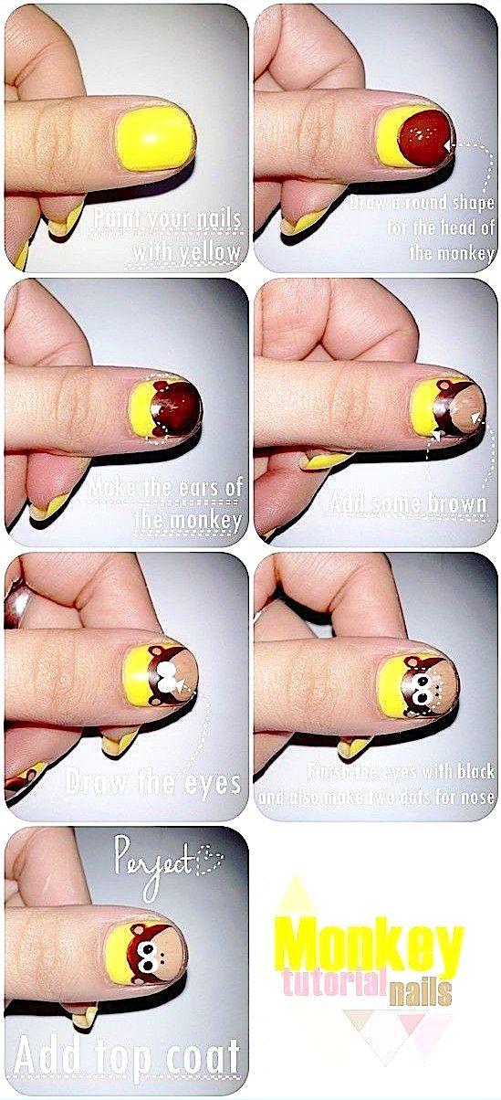 tutorial decoración de uñas mono