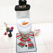 1 Conjuntos de Natal Decorações de Natal Conjunto Boneco de Neve decorativo vaso sanitário Tampa de Assento Do Toalete e Tapete de Banheiro assento cobre tampas(China (Mainland))