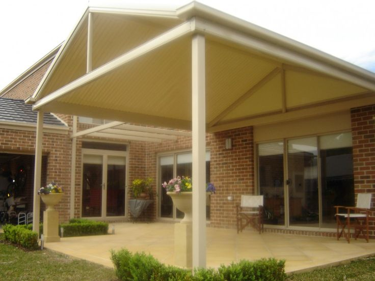 Gable with pergola attached window trellis pinterest for Gable patio designs