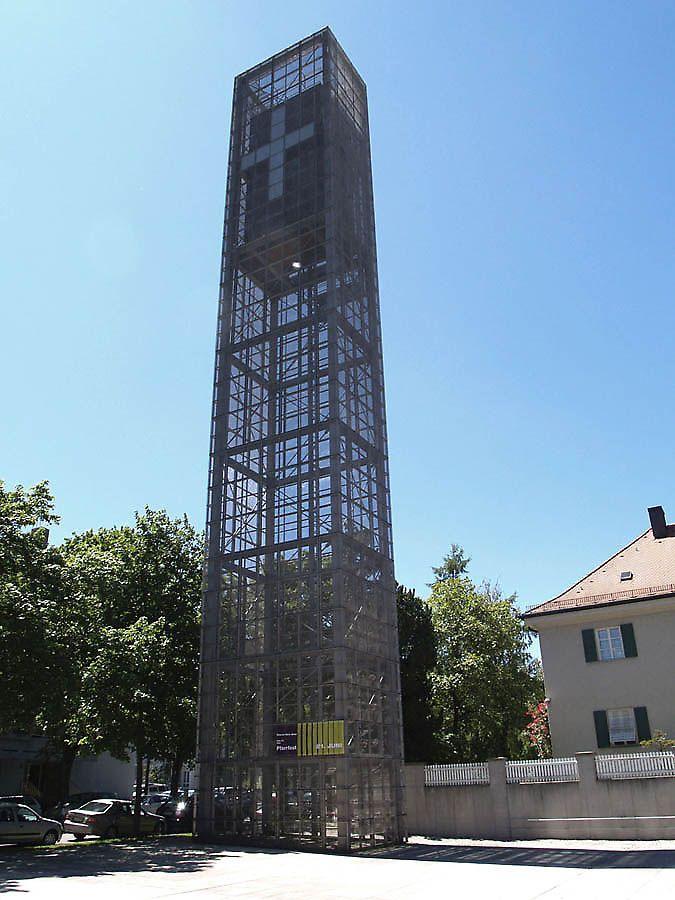 Ultra modern and translucent bell tower of Herz Jesu Kirche