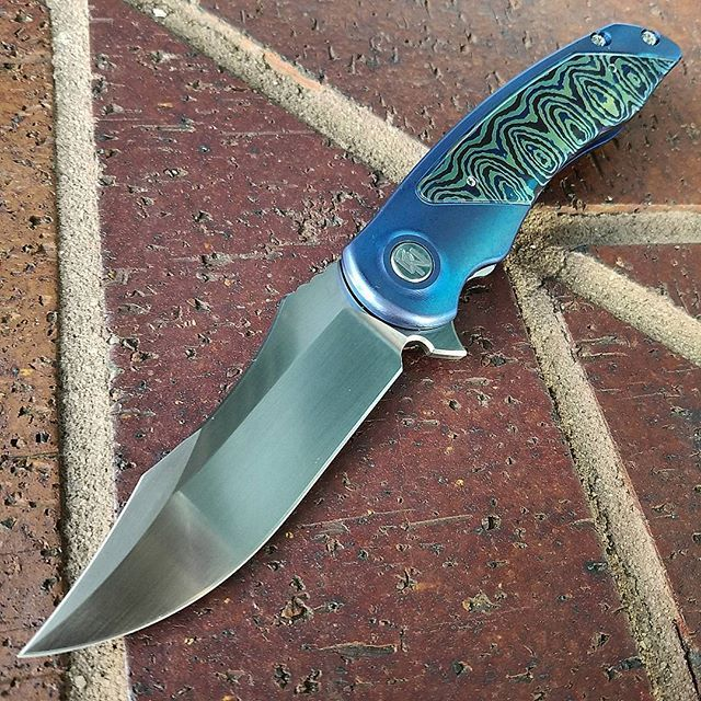 First knife score today. @sharpbydesign cyclone with timascus inlays. #blade2016