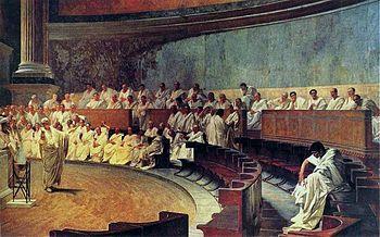Cicero denounces Catiline. Fresco by Cesare Maccari (1880 )
