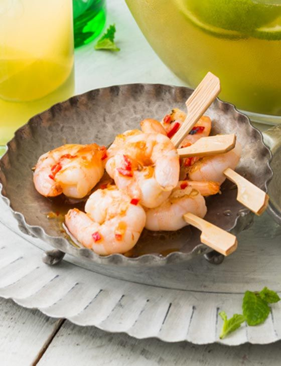 Chilli and lime prawn mini skewers. Dairy free appetiser recipe.