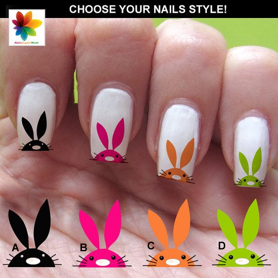 Bunny, Easter nail art, Decal, 60 Waterslide stickers Decal Nail, three size on Etsy, $5.90