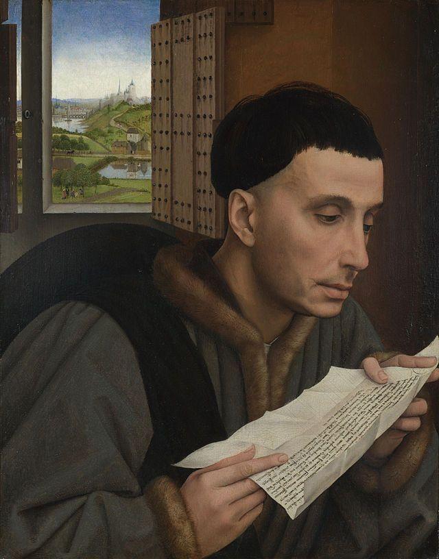 Rogier Van der Weyden, sant'Ivo, 1450-1460 ca, olio su tavola, national gallery, Londra.