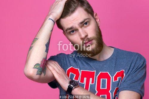 """""""male model with beard on a bright background"""" Fotos de archivo e imágenes libres de derechos en Fotolia.com - Imagen 106151638"""