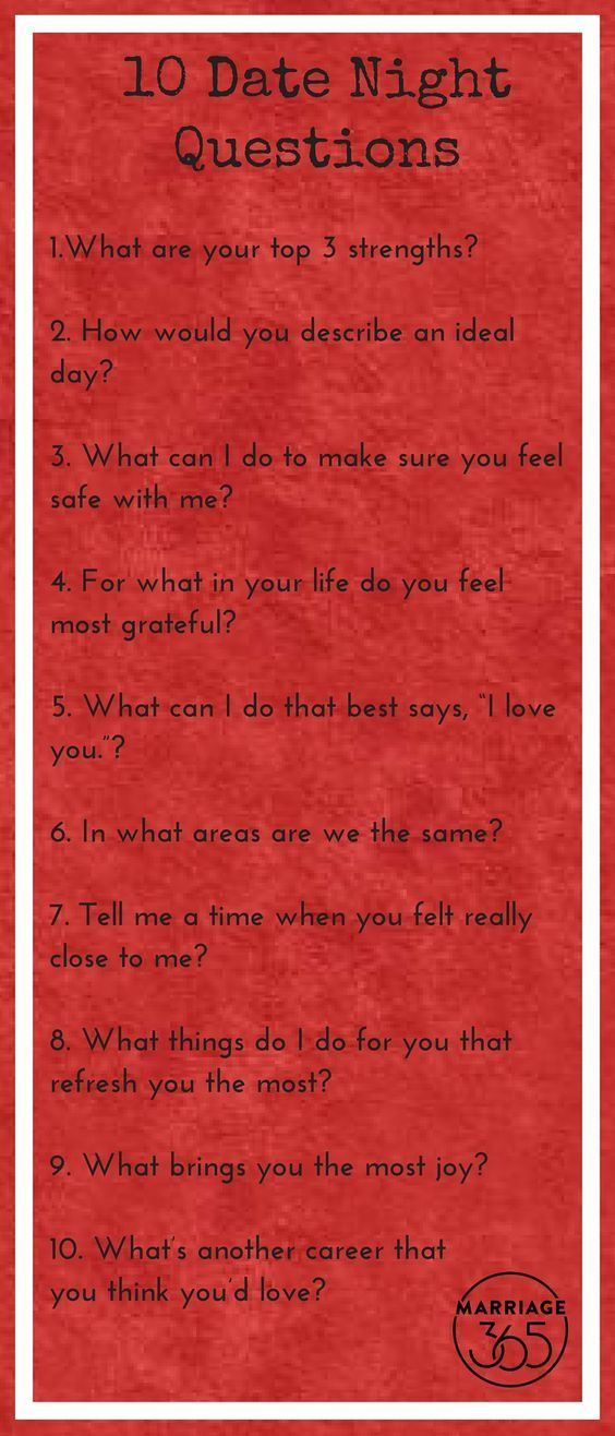 10 date night questions to ask your spouse. Never stop being curious with each other. For more questions, click here...http://marriage365.org/40-date-night-questions/