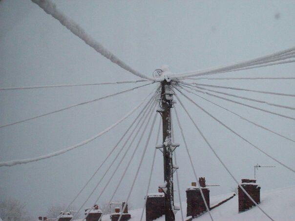 Snow on telephone wires