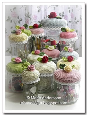 "Pretty crocheted jar lid covers. Blog is in Swedish and entry takes some finding, but Google Chrome will translate it, and once you've spotted the ""Patterns"" tab, you're home free!"