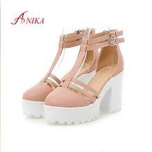 2015 nueva moda gladiador sandalias de la plataforma mujeres personalizada rosa y blanco de cuero gruesos tacones altos para mujer del verano zapatos(China (Mainland))