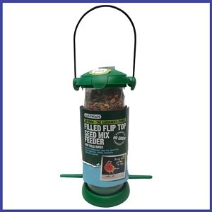 Durable gardman feeder is suitable for all types of bird seed.The flip top lid makes it easy to fill and clean. It tends to attract chaffinches, blue tits,robins, dunnocks and other species.
