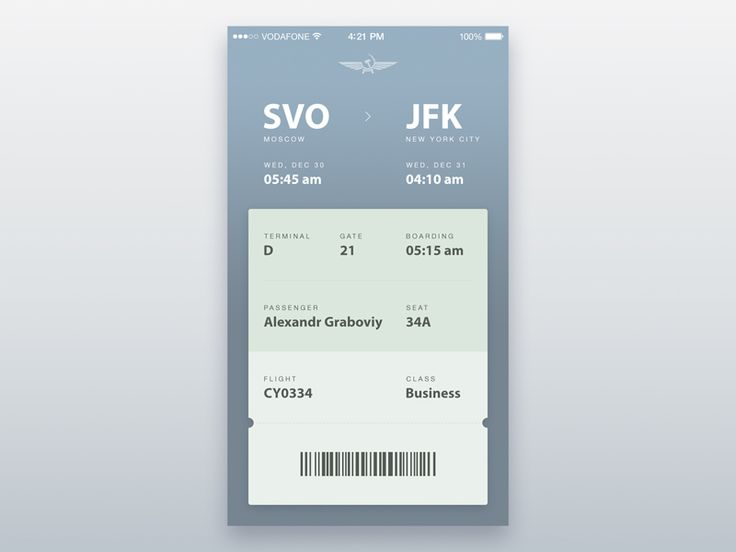 Hello, my concept of a boarding pass