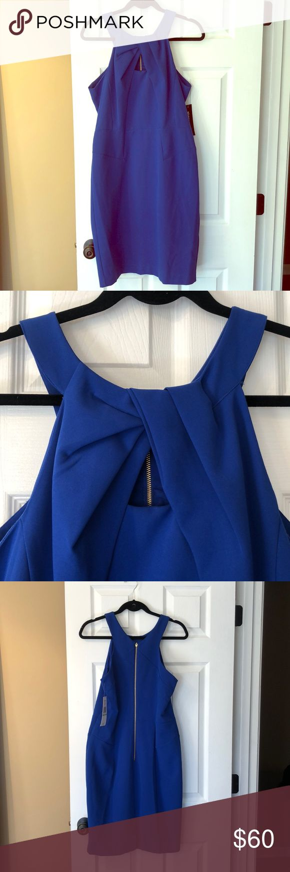 Blue Dress NWT form fitting colbalt blue dress. Cut out triangle in front on chest. Gold zipper, missing small part at bottom but still zips up (see picture). Perfect for wedding season! Sharagano Dresses Midi