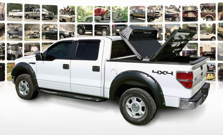 DiamondBack HD truck bed cover on white Ford F-150