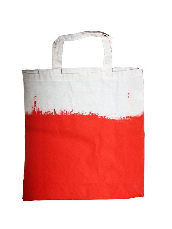 large cotton canvas TOTE bag Orange color by pombypomegranate